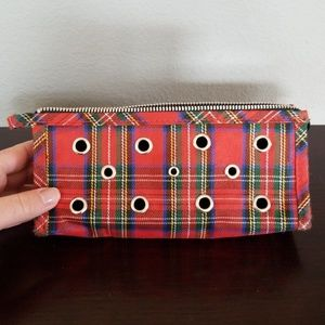 Handbags - Plaid Zipper Makeup Bag